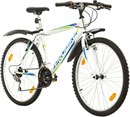 Coollook PROBIKE 26 Zoll Fahrrad Felge Mountainbike MTB Weiss Glanz Starren Rahmen Fahrradherren Rad Bike Cycling, Rahmen 51 cm, 18-GANG EU-PRODUKT