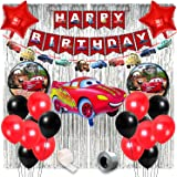 Party Propz McQueen Car Birthday Theme Decorations for Party Supplies 50Pcs Combo Set for Kids Birthday Decoration / Boys Bir
