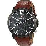 Tommy Hilfiger 1791269 - Reloj análogico de cuarzo con correa de cuero para hombre, color marrón/negro
