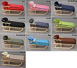 Holzschlitten mit Rückenlehne mit Winterfußsack 108cm Schlitten   10 Farben