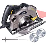 Kreissäge, TECCPO 1500W Professionelle Handkreissäge mit Laser, 5800 U/min, Motor mit Kupferwicklung für Holz und weiches Metall, Schnitttiefe/Winkel: 45mm (45°) - 63mm (90°), 2x 185 mm Kreissägeblatt