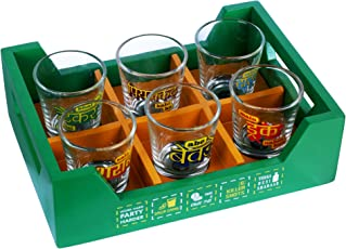 Ek Do Dhai Killer Tray with Shot Glass Set, 7-Pieces, 60ml, Multicolour