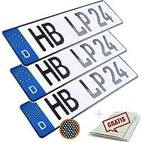 L & P Car Design KFZ Kennzeichen 3 Stück 52cm x 11cm in Carbon Optik Nummernschild 520mm x 110mm Wunschkennzeichen DIN…