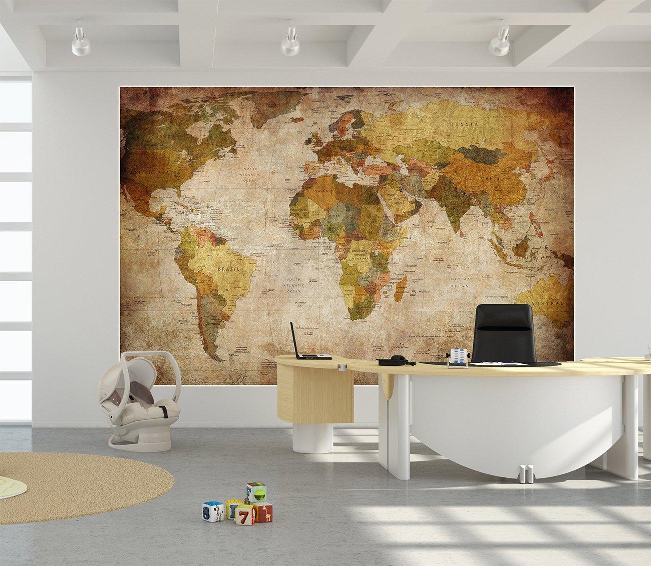 GREAT ART Mapa del Mundo para Pared, Decoración Retro, Diseño XXL, Póster, (140x 100cm)