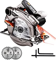 Kreissäge, 3m Kabel, 1500W, Handkreissäge Bleche Ø185mm Kompatibel 190mm Schneidtiefe: 63mm (90 °), 45mm (45 °), 4500RPM, Aluminium Protector, Reinkupfer Motor, Starke Schneidfähigkeit Tacklife PES01A