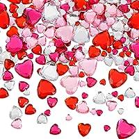 516 Pièces Coeur Acrylique en Strass Coeur à Dos Plat de Cristal Gemmes Strass 18 mm/ 12 mm/ 10 mm/ 6 mm pour Saint…