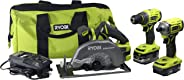 Ryobi P1837 18V One Cordless Brushless 3 Tool Combo Contractor Kit (9 pieces: Drill/Driver, Impact Driver, Circular Saw, 7-1/