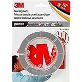 3M Power Montagetape, extra sterk dubbelzijdig plakband voor binnen en buiten, 19 mm x 5 m x 0,8 mm, grijs, per stuk verpakt