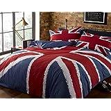 Union Jack Rouge, Blanc et Bleu Drapeau Britannique Double Couverture de Couette. 200cm x 200cm. Comprend 2 x taies d'oreille