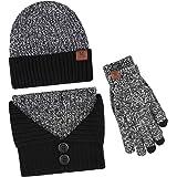 Bequemer Laden Cappello Beanie Invernale + Collo Sciarpa + Guanti Touchscreen Set Caldo a Maglia per Uomo 3 Pezzi