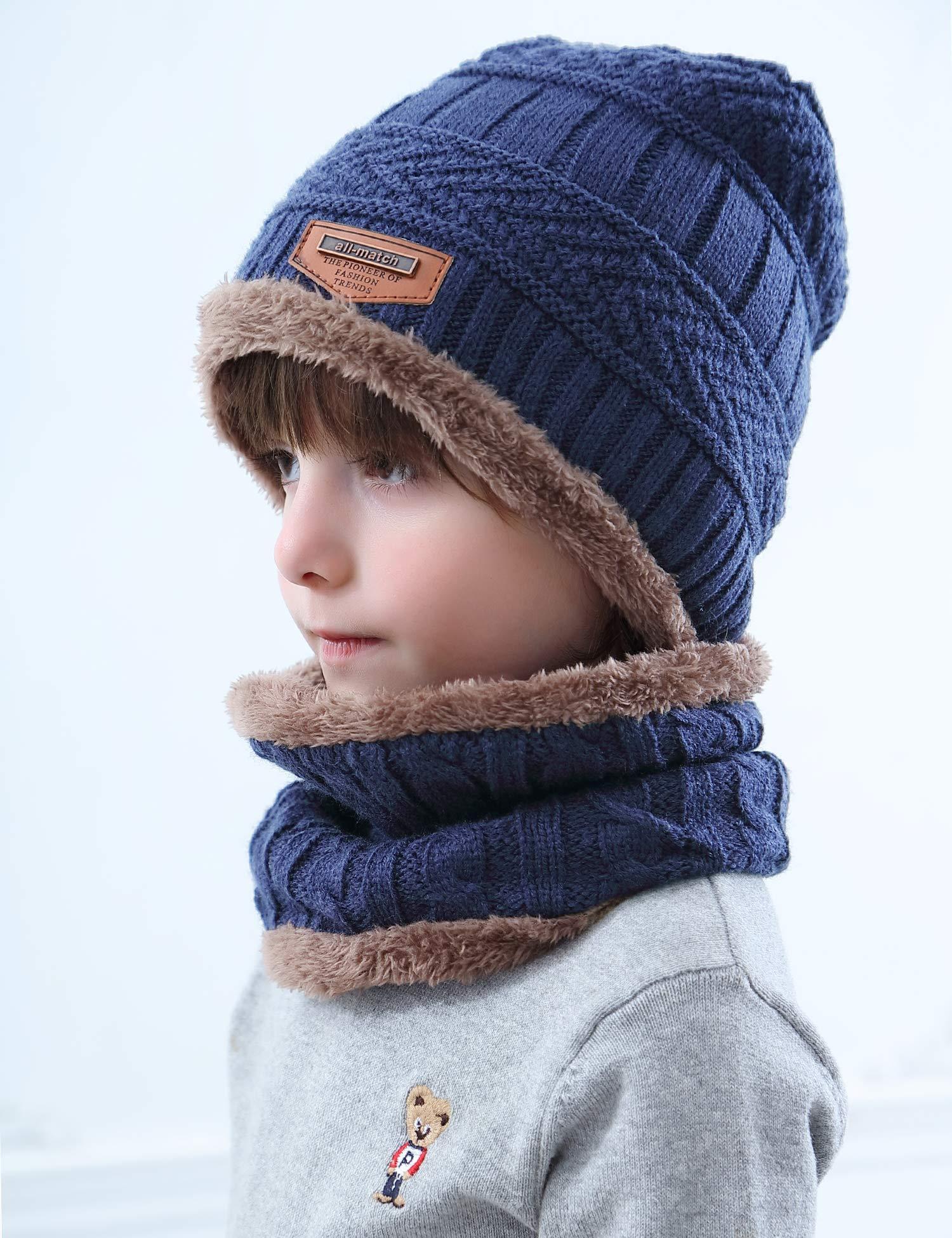 Aibrou Cappello Uomo Invernali【Guanti Possono Essere Utilizzati su Schermi Mobili e Tablet】 3 in 1 Cappello Sciarpa… 4 spesavip