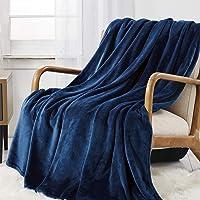 WAVVE Plaid Couverture Polaire Flanelle en Microfibre, Couverture lit 1 Personne 130x150cm Bleu Marine Enfant/Adulte…