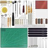 FEPITO 58 Pcs en Cuir Artisanat Outils DIY en Cuir À Coudre Outils pour La Main À Coudre Couture en Cuir Artisanat DIY Outil