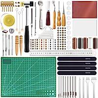FEPITO 58 Pcs en Cuir Artisanat Outils DIY en Cuir À Coudre Outils pour La Main À Coudre Couture en Cuir Artisanat DIY…