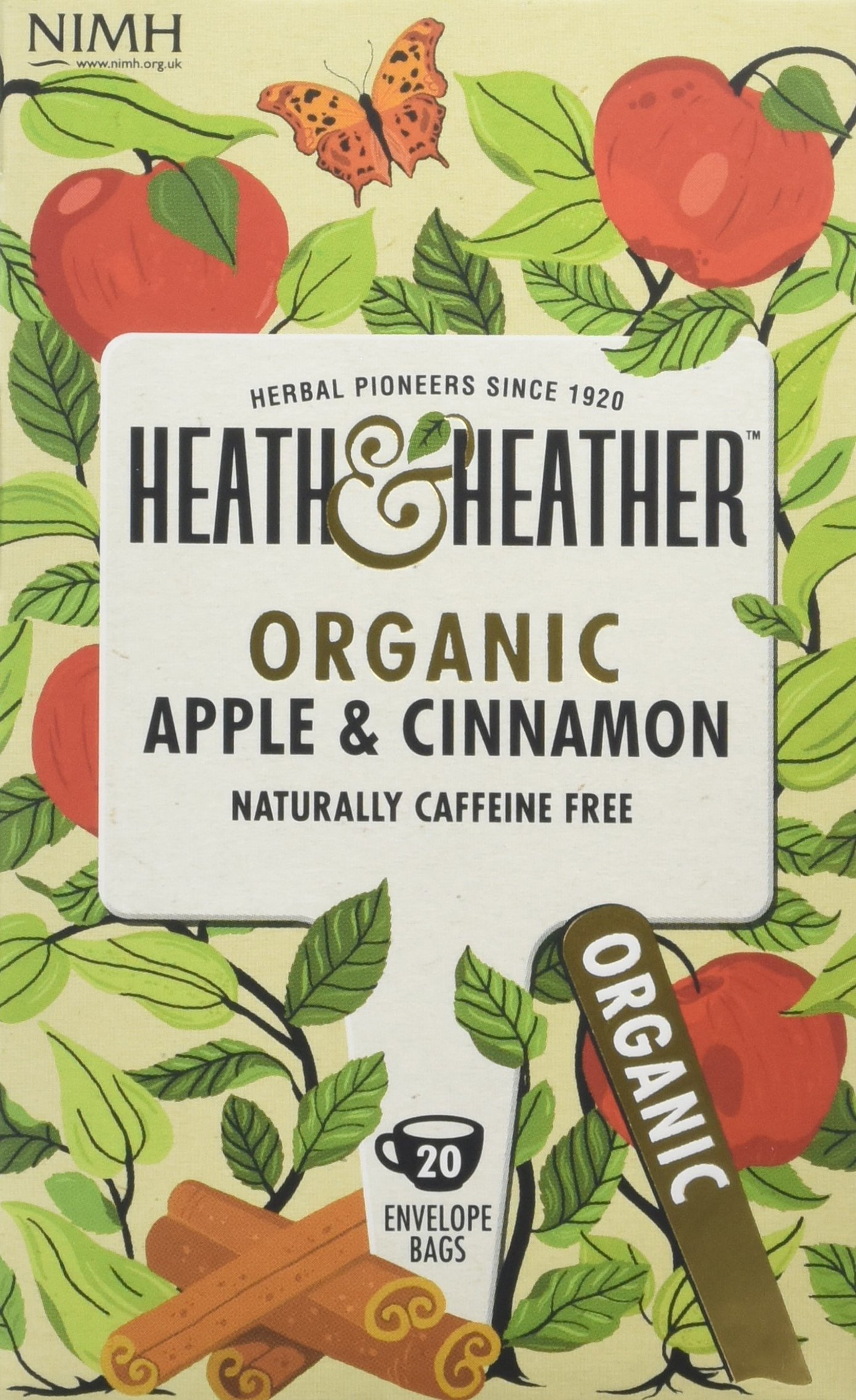 Heath & Heather apple and cinnamon tea bundle (soil association) (infusions) (6 packs of 20 bags) (120 bags) (a fruity, spicy tea with aromas of apple, cinnamon) (brews in 3-5 minutes)