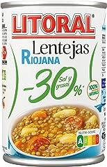 LITORAL Plato Preparado de Lentejas Riojana, Sin Gluten, 425g