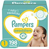 Diapers Newborn/Size 1 (8-14 lb), 198 Count - Pampers Swaddlers Disposable Baby Diapers, ONE MONTH SUPPLY