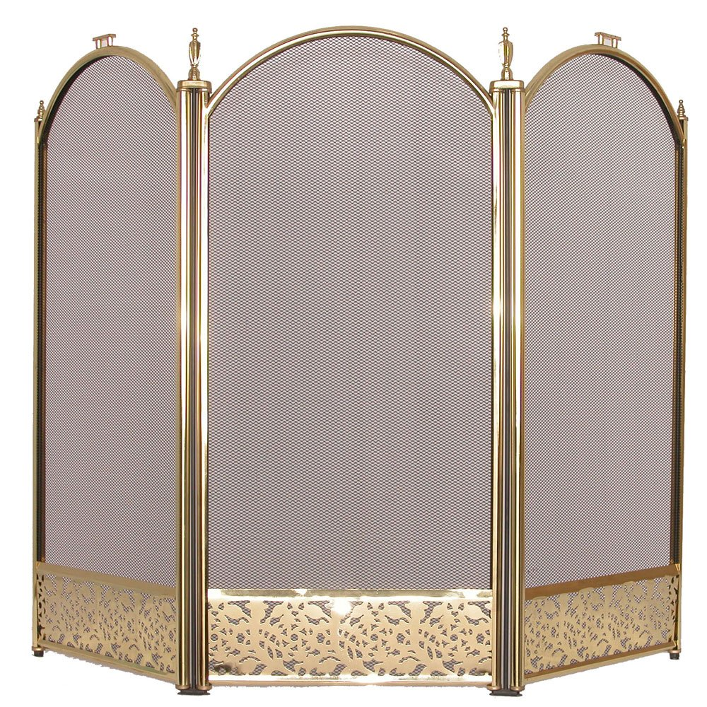 heavy duty stylish firescreen spark guard fireplace 3 4 panel