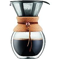 Bodum 11682-109 POUR Over Cafetière double paroi en verre 8 tasses avec filtre permanent maille inox, 1 Liter, Liège