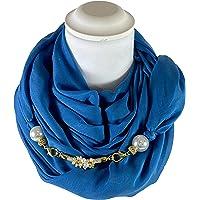 Sciarpa Gioiello Tinta Unita Blu Ottanio, Dettaglio Staccabile In Chiusura, Creato Con Corda Morbida Di 6 mm Ricamata…