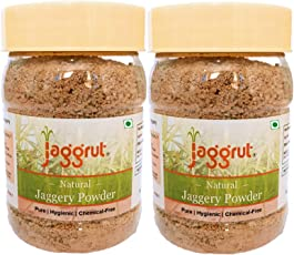 Jaggrut Natural & Chemical Free Jaggery Powder with Reusable Jars - Pack of 2 Jars 200g Each (400g)