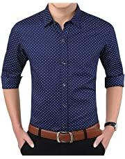 "ZAKOD Men's Polka Print Full Sleeve Slim Fit Semi Formal Shirts for Men100% Cotton Shirts,Colour and Size Choose According 4 Colour Available M=38"",L=40"",XL=42"""