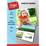 SNAP Inkjet 6x4 (10x15cm) Glossy Photo Paper 260gsm Heavyweight Premium Instant Dry and Water Resistant x 50 Sheets SP-27-50