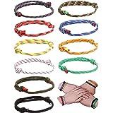 CASSIECA 10 Pezzi Nautico Corda Bracciali Marine per Uomo Donna Tessuto Surf Rope Braccialetto Set Regolabili Handmade