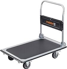 Meister Plattformwagen - Klappbar - Bis 300 kg Tragkraft - Feststellbremse/Transporthilfe mit Lenkrollen/Paketwagen mit Antirutsch-Beschichtung/Klappwagen aus Stahl / 8985540