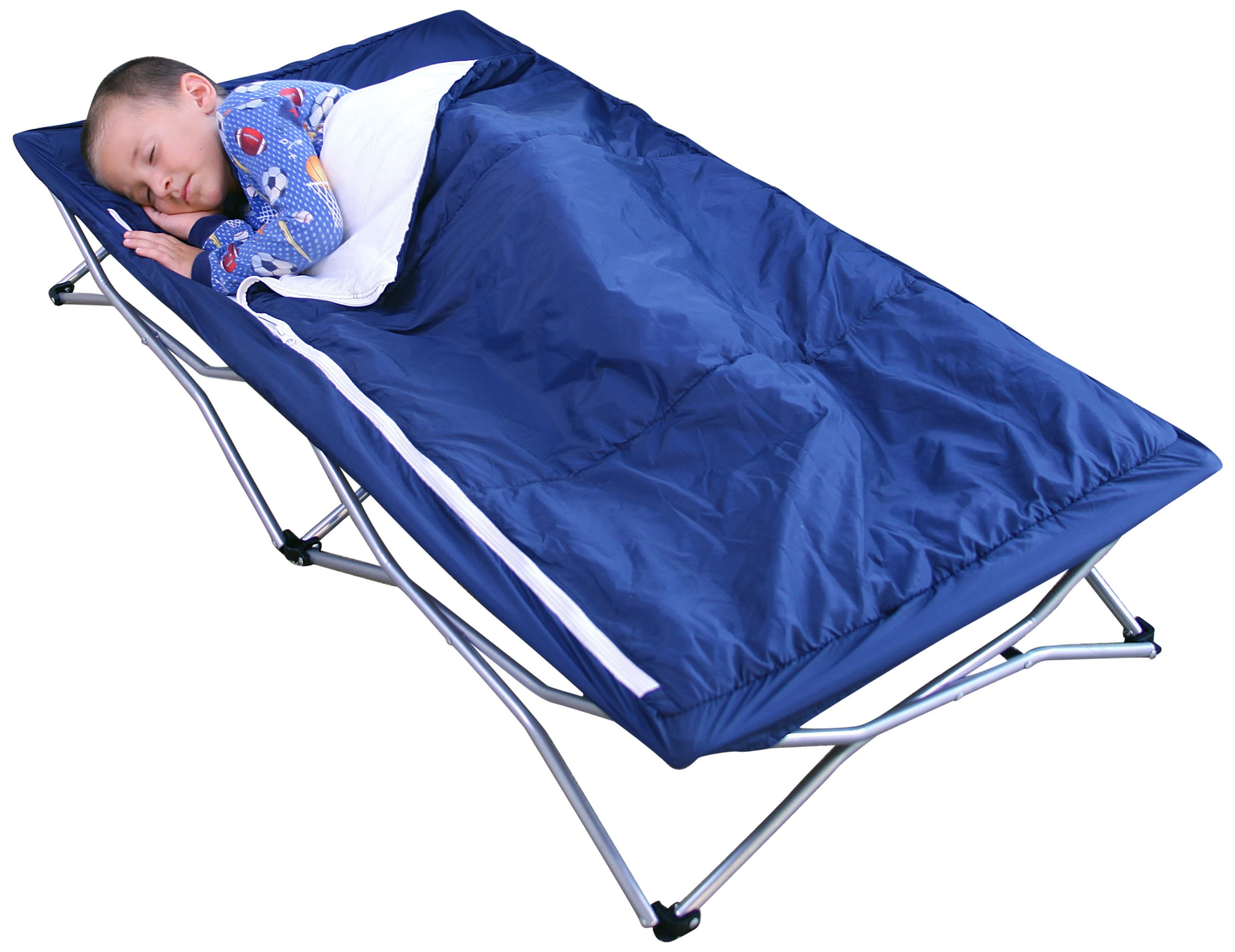 Regalo My Cot Deluxe, with Sleeping Bag, Navy Regalo Portable fold and go system Removable sleeping bag and pillow Includes Carry Case 2