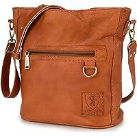 Berliner Bags Vintage Schultertasche Siena, Umhängetasche aus Leder Handtasche für Frauen - Braun