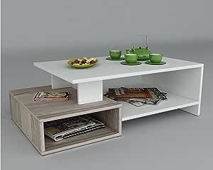 Homidea Dux Tavolino Basso da Salotto - Bianco/Avola - Materiale in Legno - Tavolino da Divano - Tavolino da caffè Moderno in Un Design alla Moda con mensola