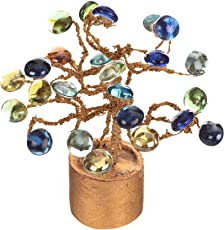 CAAJIB Lucky Charm Stone Artificial Flower Plant with Vase Pot for Home Decor Decorative Flowers, Height 14 cm, Multicolour
