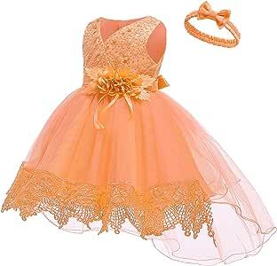 Abito da battesimo di festa Abito da principessa bambina 6 Mesi, Arancione set di costumi perfetto per il carnevale 4 colori e 4 taglie il matrimonio e le occasioni speciali