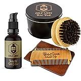 Bartpflegeset von Gold Lions I Bartpflege Set besteht aus Bartöl in Bio-Qualität + Bartkamm mit hochwertigem Etui + Bartbürste aus 100% Wildschweinborsten I + Gratis eBook I Zufriedenheitsgarantie