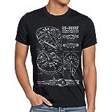 style3 Millennium Falcon T-Shirt da Uomo Cianografia