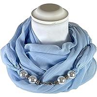 Sciarpa Gioiello Tinta Unita Azzurro Con Perle In Resina E Cristalli Montati In Chiusura. Prodotto Artigianale, Fatto A…