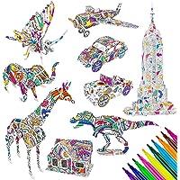 MOOKLIN ROAM 9 Pack Ensemble de Puzzle à Colorier 3D pour Enfants, Art de Coloriage Peinture 3D Puzzle avec 30 Marqueurs…