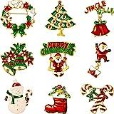 9 Pezzi Spilla di Natale Pin di Neve Set con Decorazioni Natalizie in Cristallo di Strass (Set di Buon Natale)
