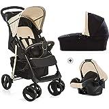 Hauck Shopper SLX Trio Set 3 in 1 Kinderwagen bis 25 kg + Babyschale + Babywanne mit Matratze ab Geburt, Buggy mit Liegefunktion, Getränkehalter, leicht, klein faltbar, caviar/beige
