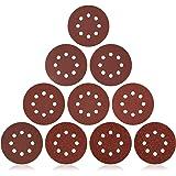 Schuurpapier 125 mm klittenbandsluiting, JUEMEL 160 stuks schuurschijven set voor excentrische schuurmachines, 8 gaten, P60 P