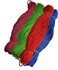Happycraft Set of 4 Nylon 2mm Macrame Cord (60 Meters Each Cord) 6 ply Nylon Knotting Poly Propylene Cord for Macrame.Ideally Used for Jewelry Making, Bags and Various Other Craft Projects.