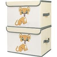 DIMJ Lot de 2 Boîte de Rangement Enfant pour Jouets Pliable, Coffres à Jouets Grande Capacité Caisse de Rangement avec…