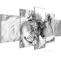 Runa Art Bilder Löwen Liebe Wandbild 200 x 100 cm Vlies - Leinwand Bild XXL Format Wandbilder Wohnzimmer Wohnung Deko…