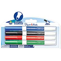 Paper Mate Low Odour Whiteboard Markers,Fine Tip, Assorted Ink Colours, 4 Count
