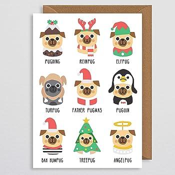 Dog Christmas Puns.Dog Christmas Card Christmas Pug Card Pug Christmas Card Puguin Pugding Funny Xmas Card Christmas Cards Pug Pun Cards Christmas Card