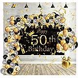 Globos de Cumpleaños Decoracion Regalo Mujer Adultos Feliz para 50 años Happy Birthday Arco Hombres Originales Confeti Numero