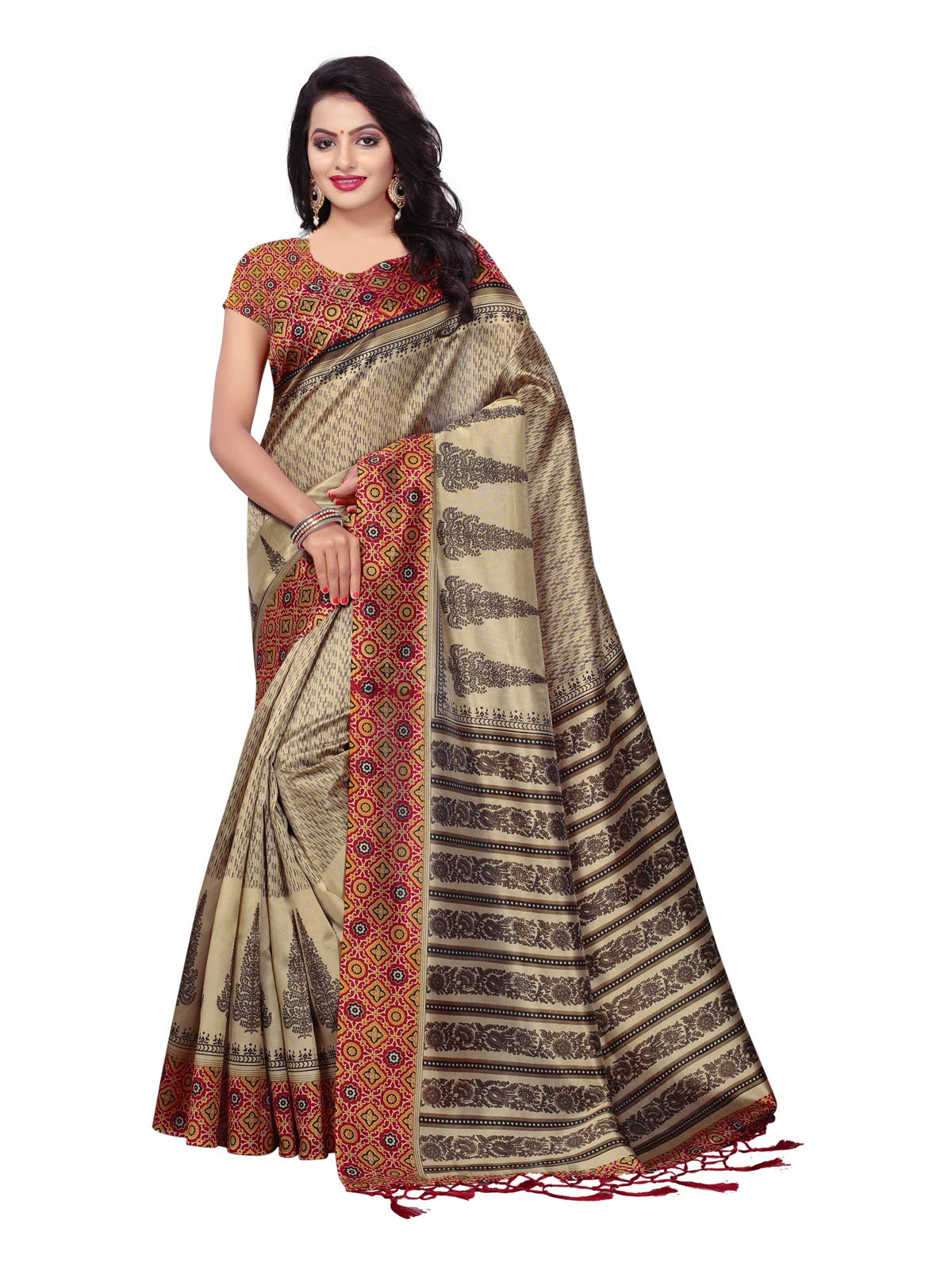 Kanchnar Women's Beige and Maroon Poly Silk Printed Saree