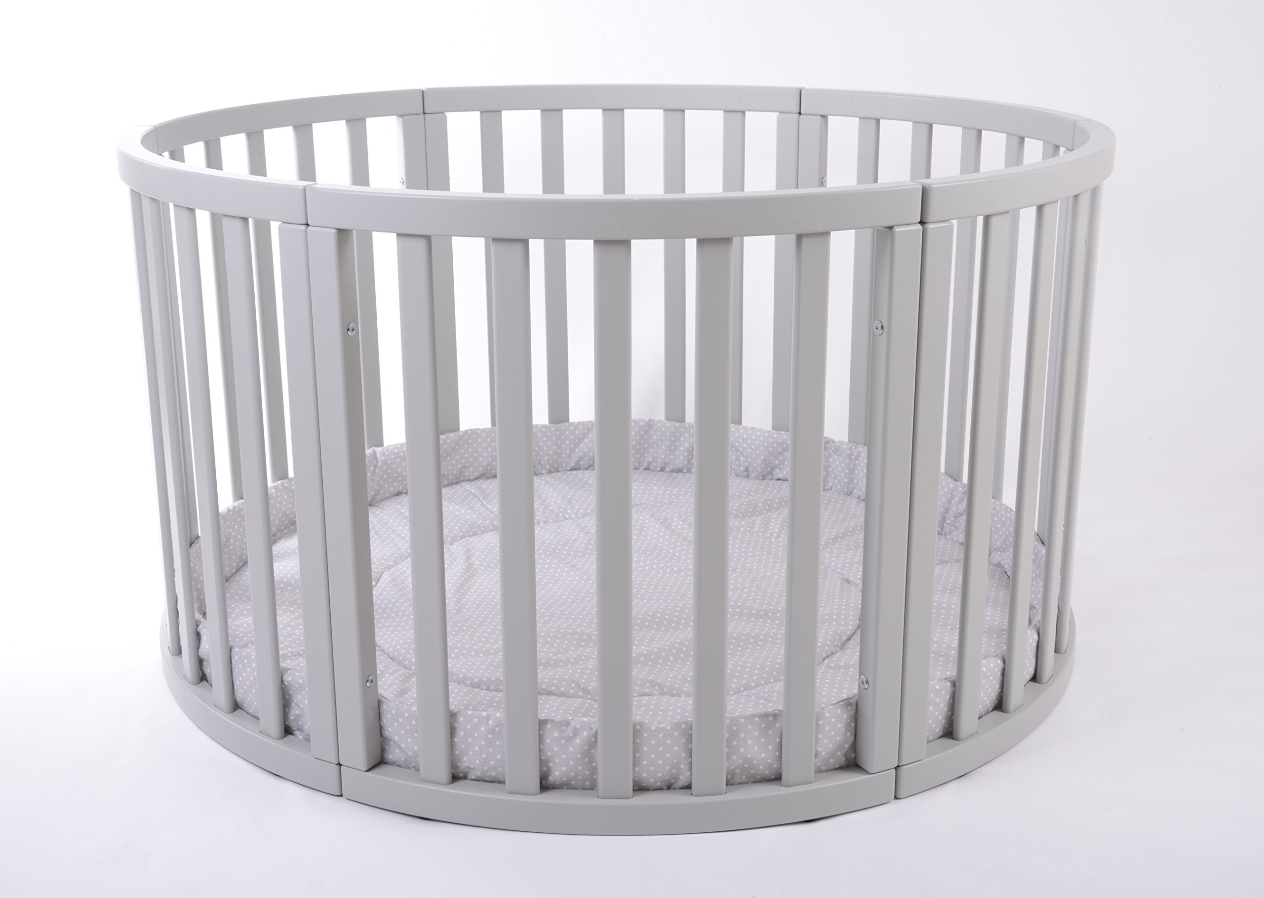 MJmark Round PLAYPEN APOLLO QUATTRO VERY LARGE Wooden play pen with play-mat SALE SALE (Grey Polka Dots) MJmark Height 70 cm approx; Ø 120cm including Playmat made from solid hard wood (Birch) 2