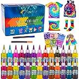 Flyqiuty Tie Dye Kit, 26 Färben Batikfarben Set DIY Textilfarbe Stoff Farben Kit, Ungiftige Hemd Stoff Farbe Graffiti Dye zum